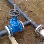 HDPE Pipe connected to Flange Type Gate Valve